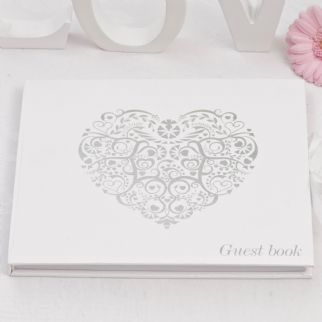 Vintage Romance White & Silver Guest Book